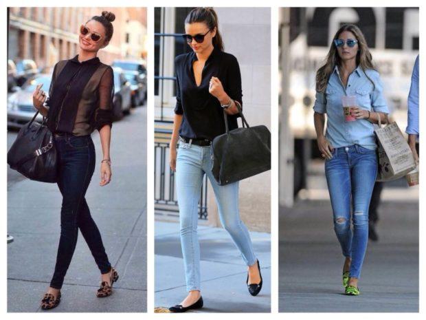 джинсы скинни темно-синие голубые с разрезами