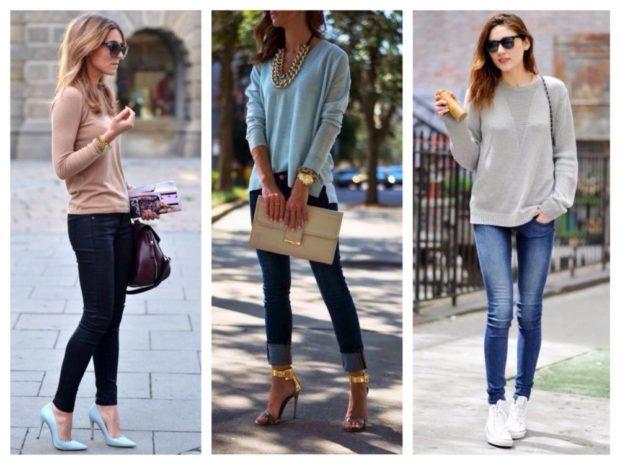 джинсы скинни черные с отворотом потертые