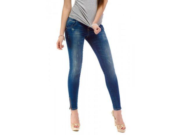 джинсы скинни синие со змейками по бокам