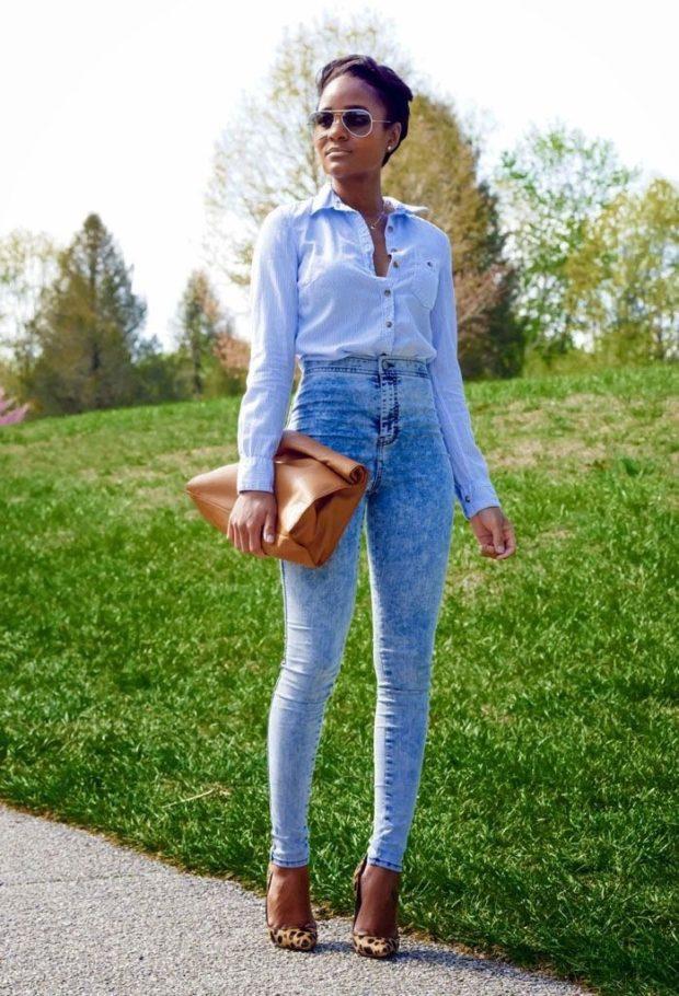 джинсы скинни голубые высокая талия