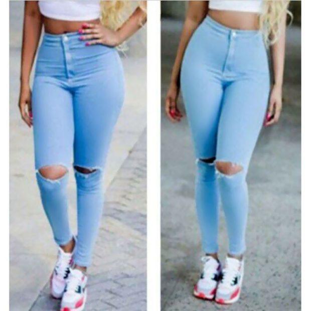 джинсы скинни голубые с разрезами на коленях