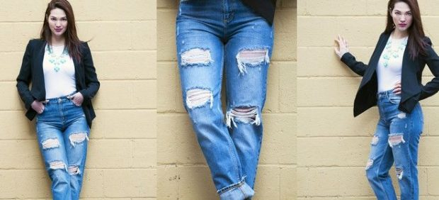 джинсы бойфренды синие с дырками подвернутые