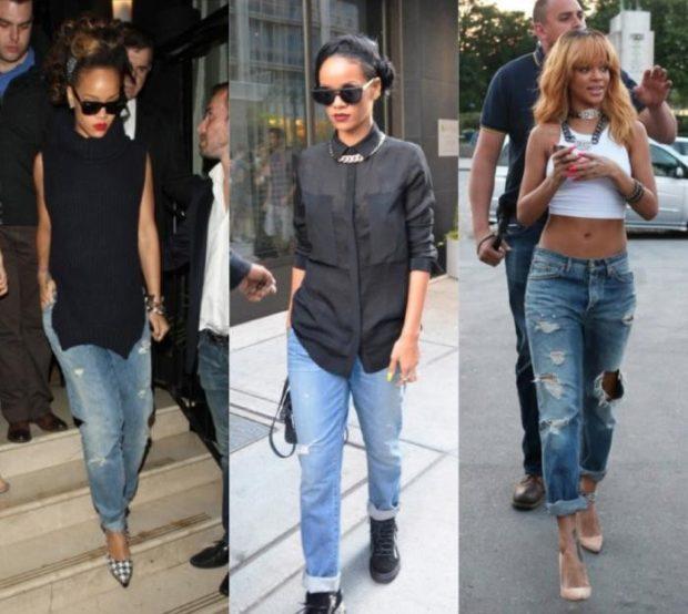 джинсы бойфренды синие с потертостями и дырками