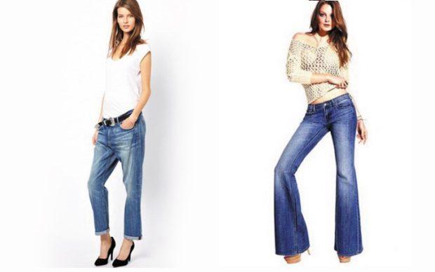 широкие джинсы короткие клеша синие потертые