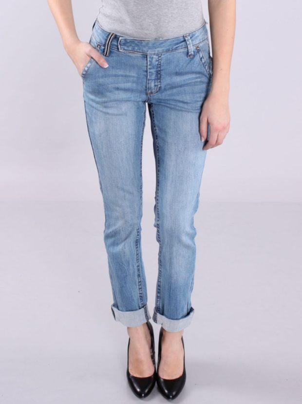 штаны с подворотом синие