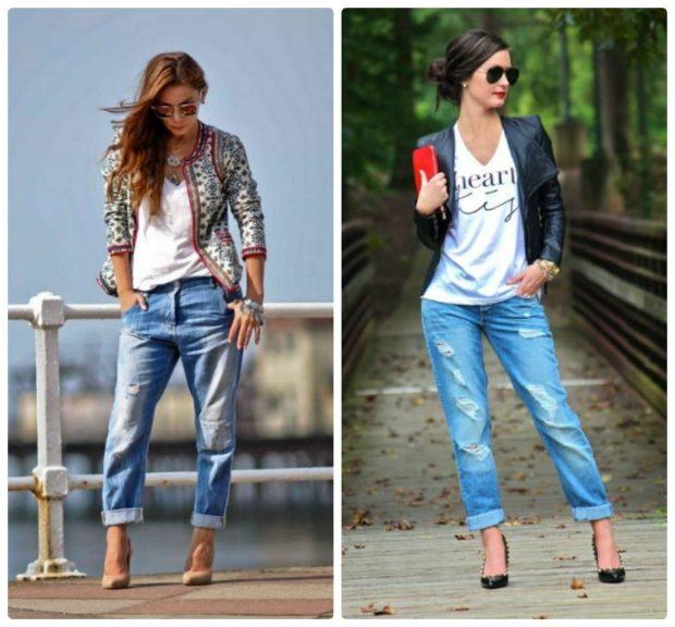 штаны с подворотом потертые синие с дырками
