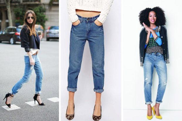 штаны с подворотом синие с дырками