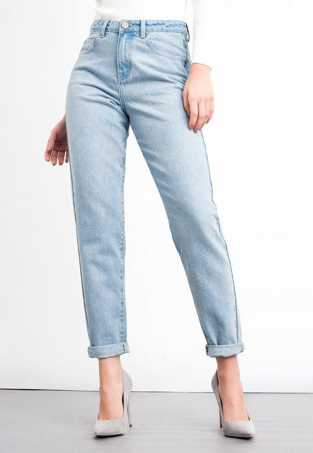 голубые штаны с подворотом высокая талия