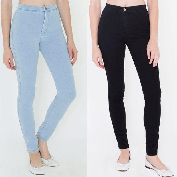 голубые черные джинсы высокая талия