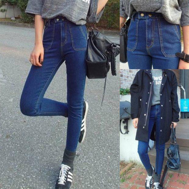 синие джинсы высокая талия