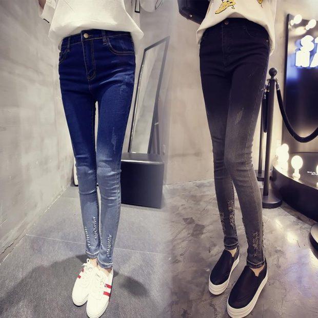 синие джинсы высокая талия черные высокая талия омбре