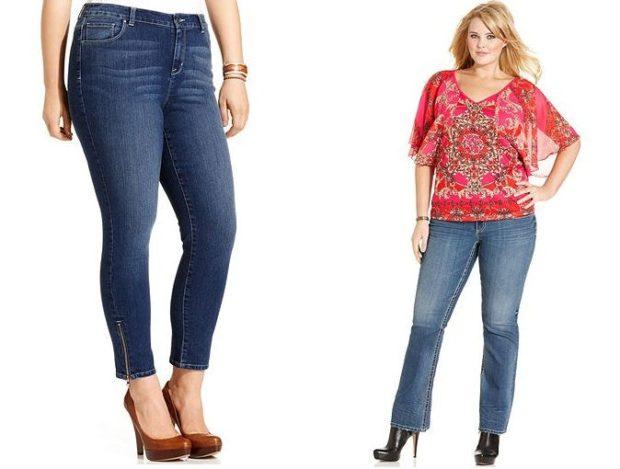 джинсы для полных синие на змейке клеша