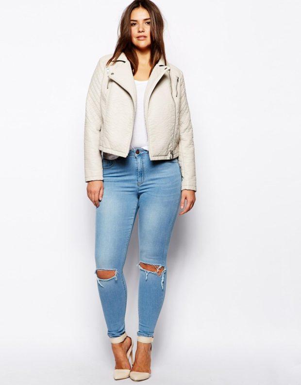 джинсы для полных скини с дырками на коленях