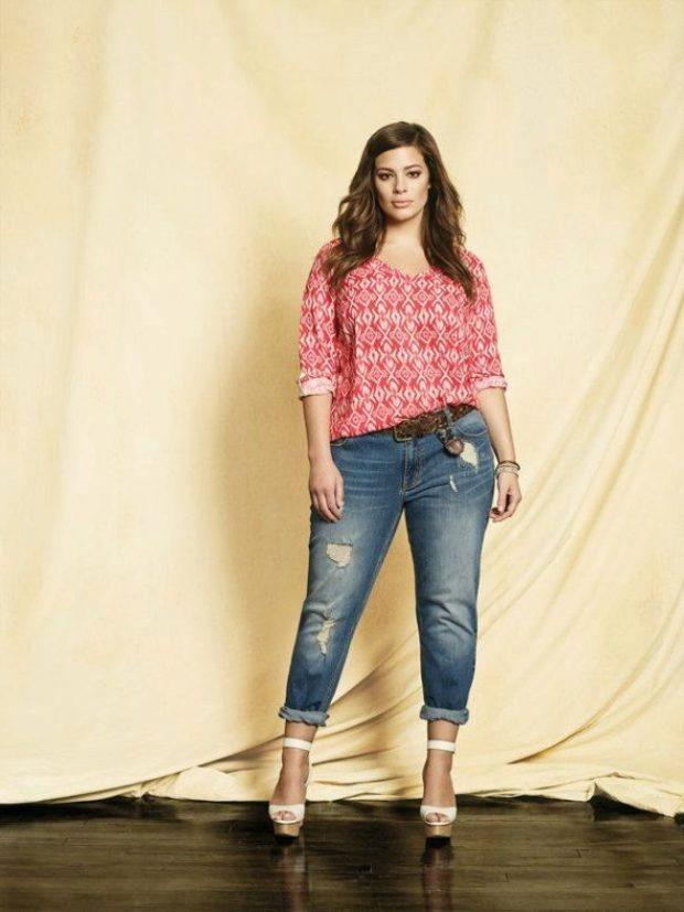 джинсы для полных короткие с потертостями
