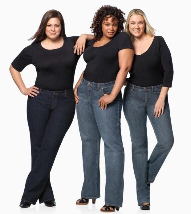 джинсы для полных черные синие серые клеша