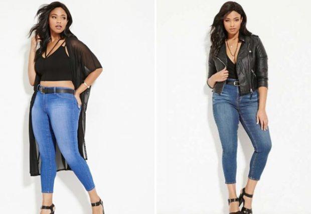 джинсы для полных короткие голубые синие