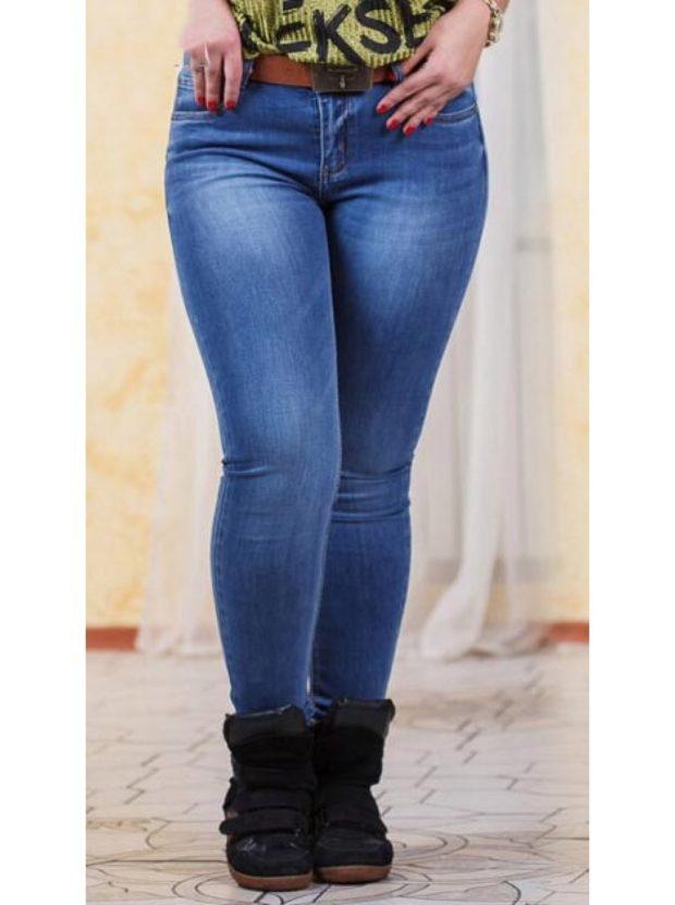 джинсы для полных синие классика