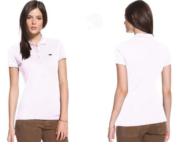модные футболки 2018 женские: белая с воротником Лакоста