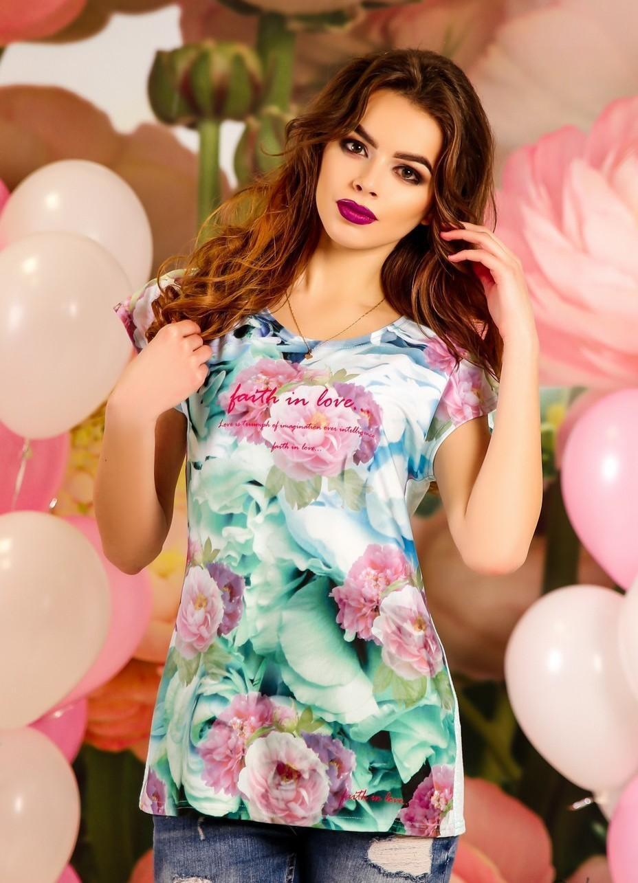 модные футболки 2018 женские: блузка в цветы