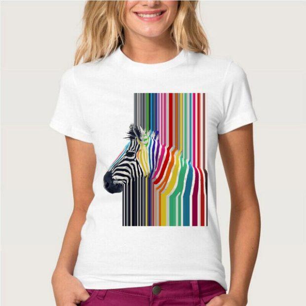 модные футболки 2018 женские: белая принт зебра цветной