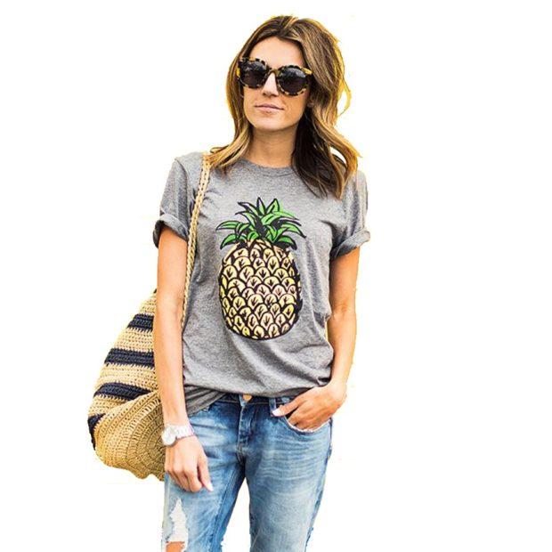 модные футболки 2018 женские фото: серая с ананасом