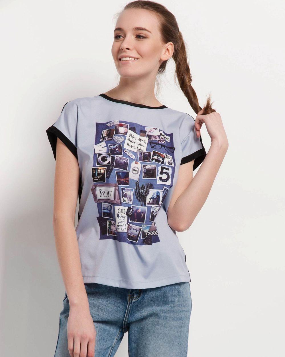 модные футболки 2018 женские фото: серая с принтом