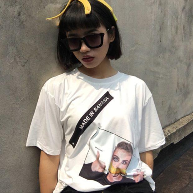 модные футболки 2018 женские фото: белая с принтом человека