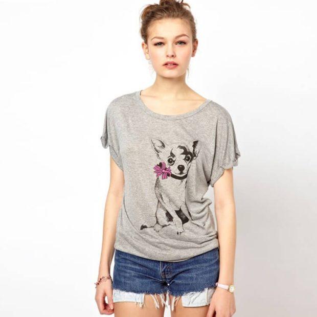 модные футболки 2018 женские фото: серая с собакой
