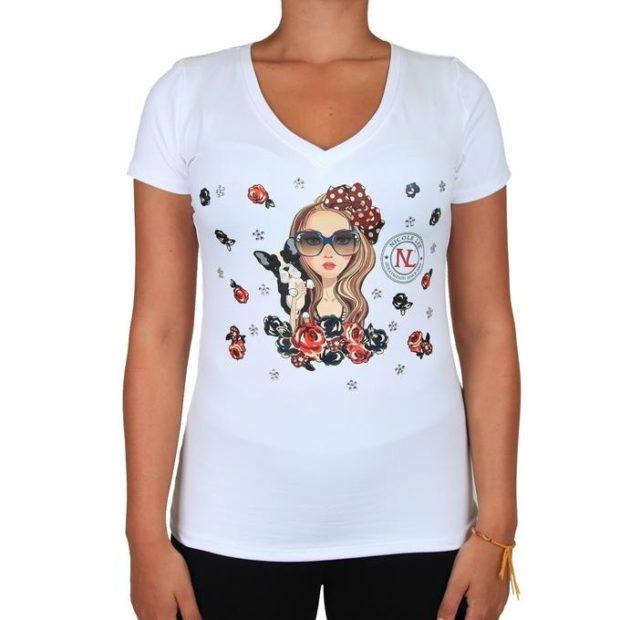 футболка с принтом девочки и собачки