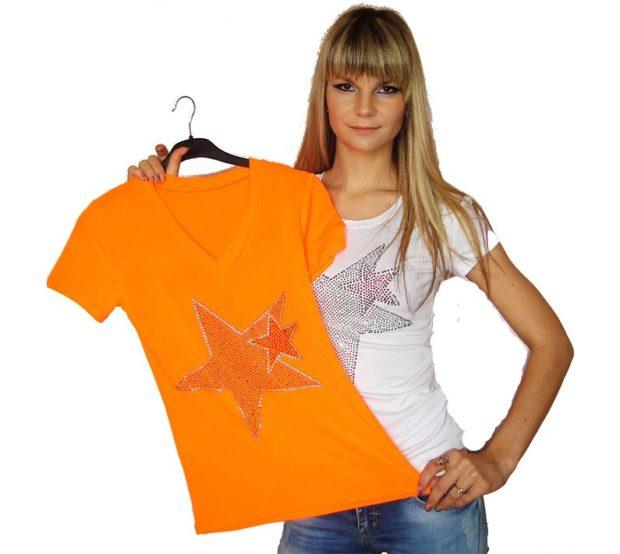 футболка со стразами звезда
