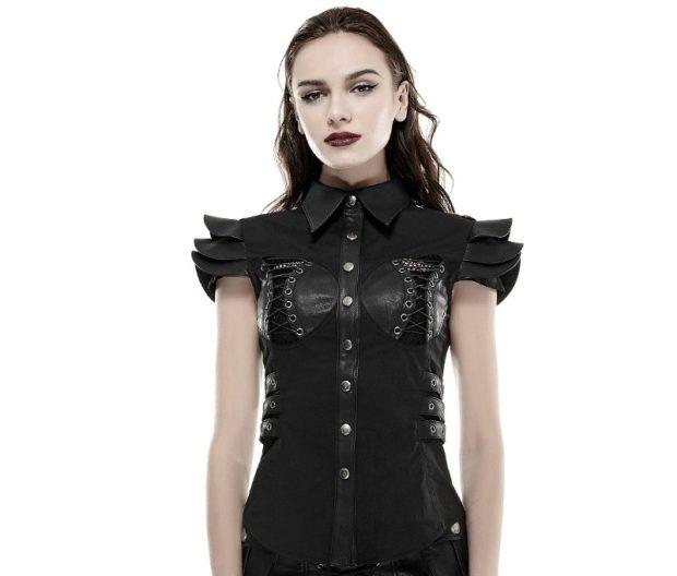 футболка черная ткань и кожа