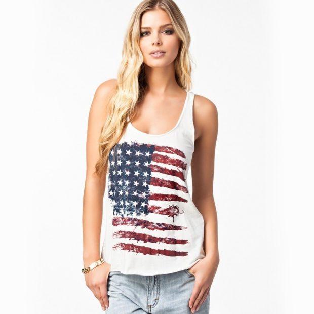 футболка без рукава белая с флагом Америки