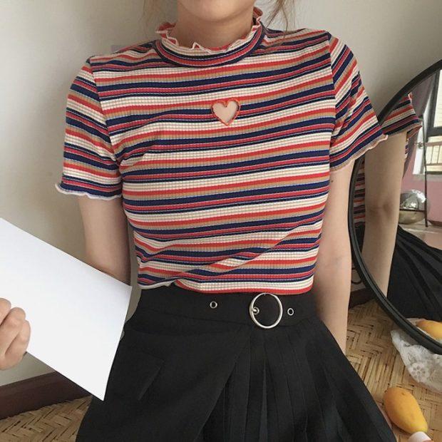 ретро футболка в полоску с сердечком