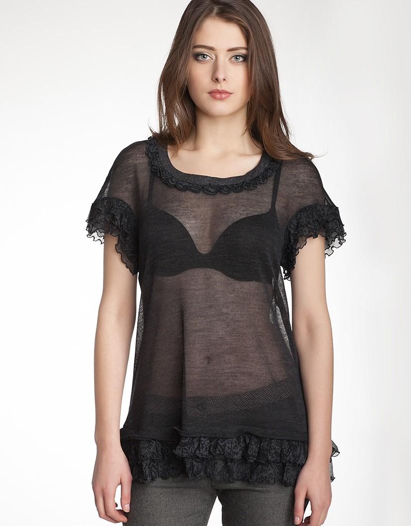 футболка черная прозрачная с воланами