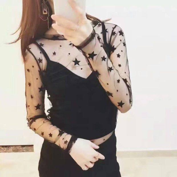 футболка черная рукав длинный прозрачный в звезды