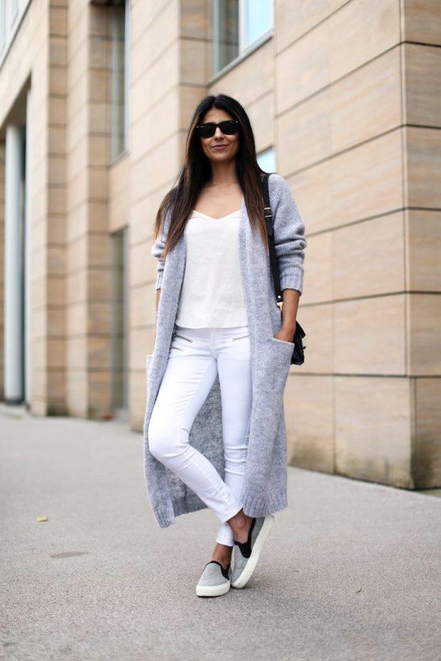 кардиган серый с карманами длинный