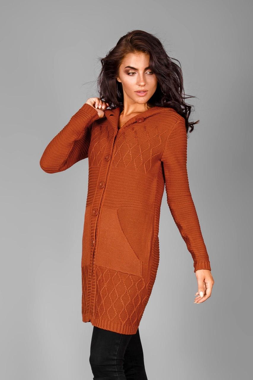 кардиган коричневый на пуговках с карманами