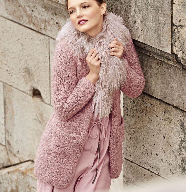 кардиган с меховой отделкой ламы розовый