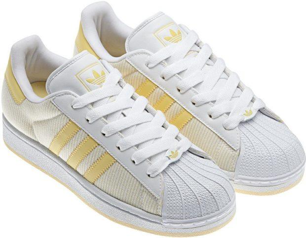 женские кеды: Adidas белые с желтым