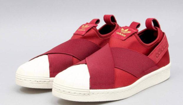 женские кеды: Adidas красные с резинкой белой подошвой