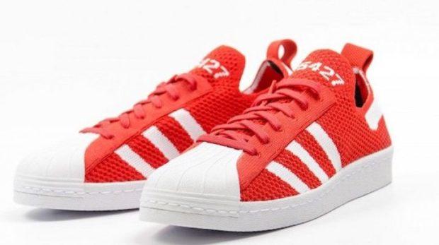женские кеды: Adidas красные с белым