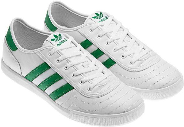 женские кеды: Adidas белые с зеленым