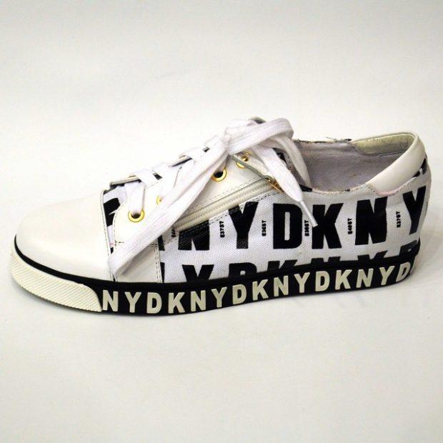 кеды женские: DKNY черные с белым