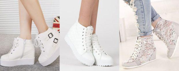 кеды женские: на платформе белые с застежками на шнурках с кружевом