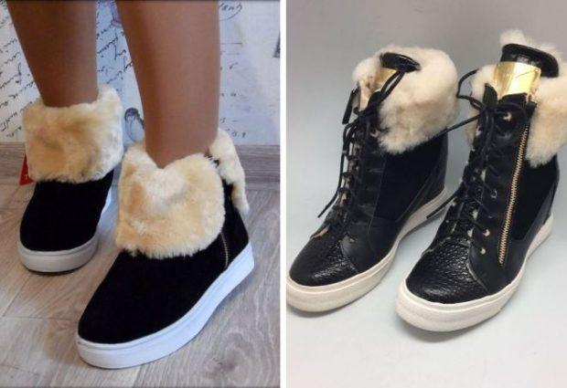с чем носить кеды: черные с мехом белым зимние