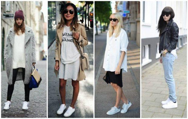 кеды женские: белые под кардиган под юбку и косуху под юбку