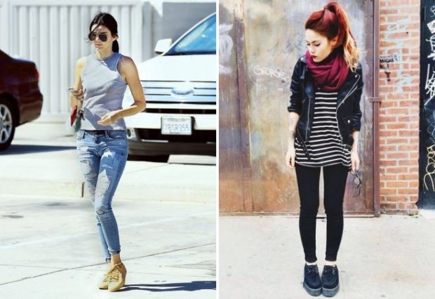 кеды женские: под джинсы и майку лосины и косуху