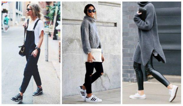 кеды женские: под комбинезон под джинсы и свитер под лосины