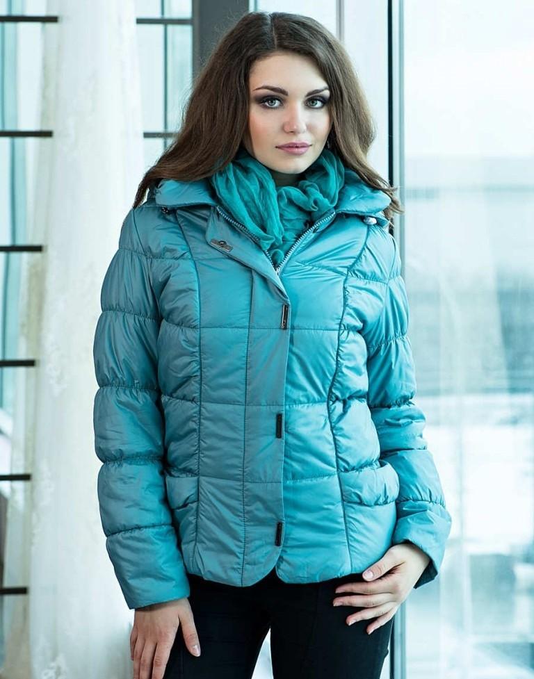 куртка на синтепоне голубая короткая