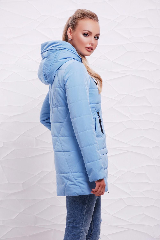 куртка на синтепоне голубая с капюшоном